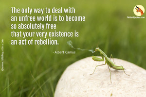 """The only way to deal with an unfree world is to become so absolutely free that your very existence is an act of rebellion."" – Freedom Quote"