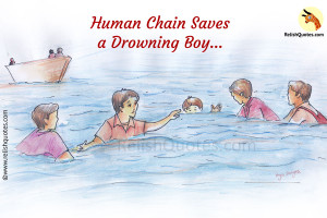 True Story of Kindness : Human Chain Saves Drowning Boy