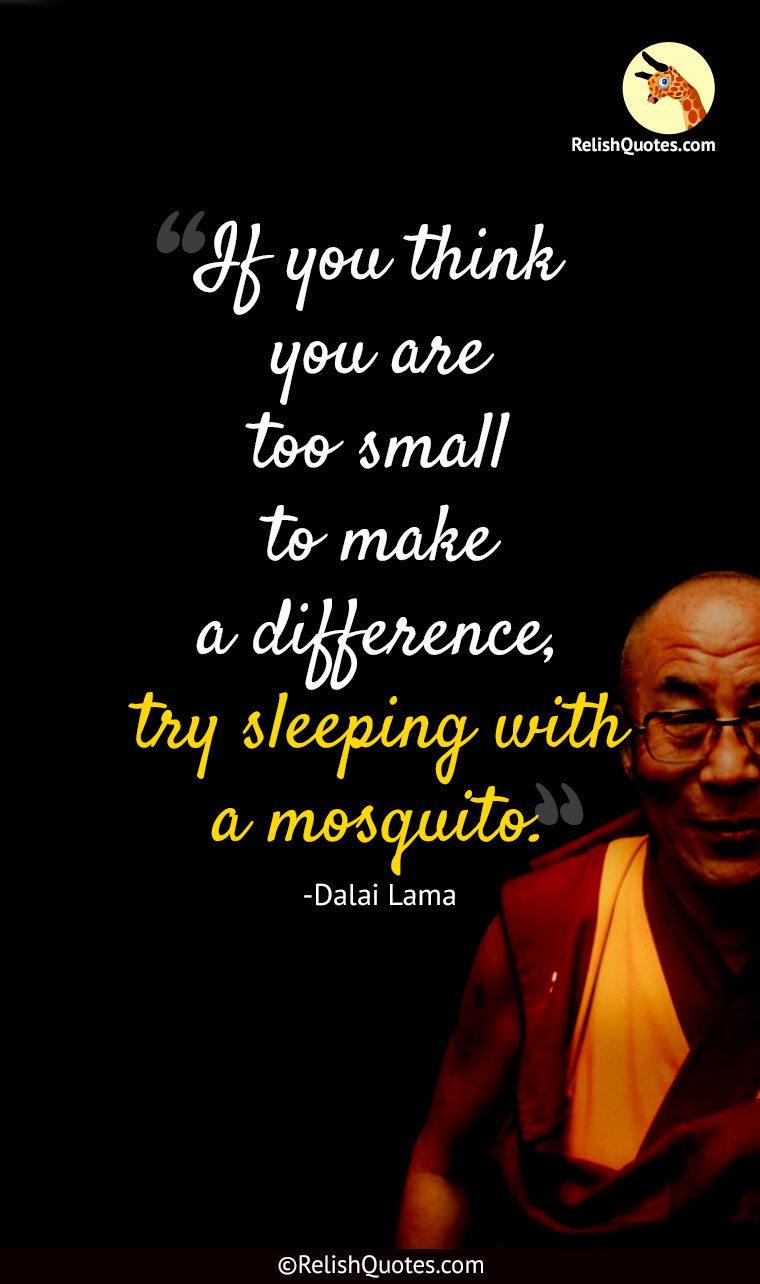"""If you think you are too small to make a difference, try sleeping with a mosquito."""