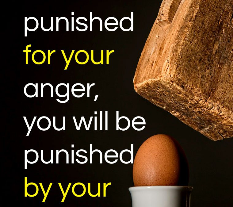 """You will not be punished for your anger, you will be punished by your anger."""