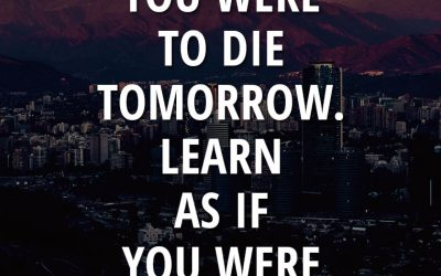 """Live as if you were to die tomorrow. Learn as if you were to live forever."""