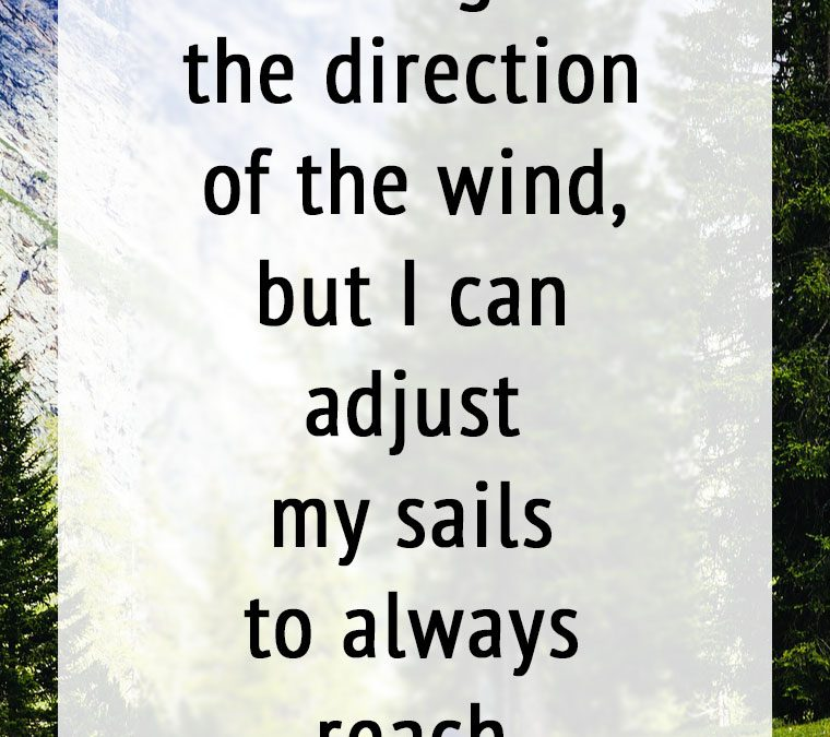 """I can't change the direction of the wind, but I can adjust my sails to always reach my destination."""
