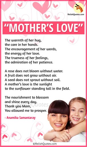"A Sweet Mothers Day Poem – ""Mother's Love"""